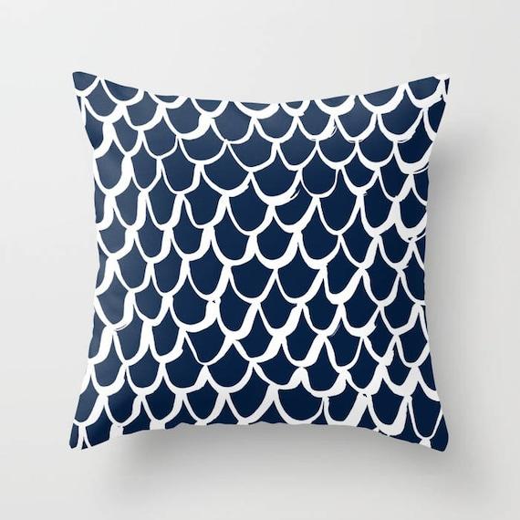 OUTDOOR Throw Pillow . Mermaid Outdoor Pillow . Navy patio cushion . 16 18 20 inch . Mermaid Outside Pillow . Navy Blue Mermaid Pillow