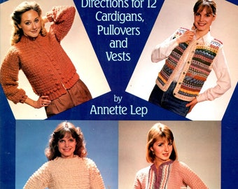Crocheting Fashion Sweaters for Women Directions for 12 Cardigans Pullovers Vests Pop Corn Stitch Scraps Lace Stripes Craft Pattern Leaflet
