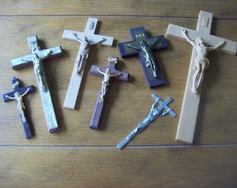 Lot of 7 Crucifix Crosses 5 Inches to 12 Inches
