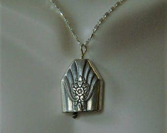 KISMET BELL, Vintage Sterling Silver Silverware Bell Pendant with Fan Design on 30 inch Sterling Silver Link Chain, BN15