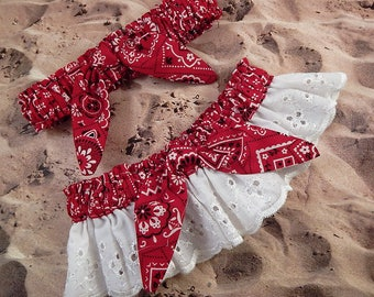 Red Bandana Paisley Tie knot White Eyelet Lace Wedding Garter Toss Set