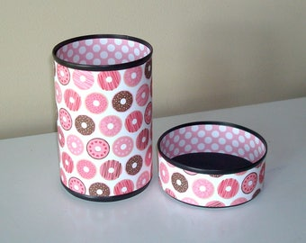 Brown and Pink Donut Pencil Holder / Cute Donut Desk Accessories / Polka Dot Pencil Cup / Office Desk Organizer / Dorm Decor - 1078