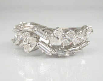 Womens Diamond Wedding Ring - 18K Gold - 1.36 Carats Total Weight Marquise and Baguette Cut Diamonds - Appraisal Included