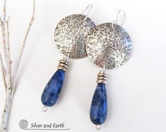 Sodalite Sterling Silver Earrings, Blue Stone Earrings, Handmade Silver Jewelry, Sterling Dangle, Blue Silver Earrings, Sodalite Jewelry