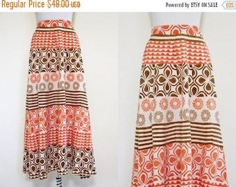 ON SALE Vintage 1960s Indian Cotton Block Print Skirt - 1960s Pumpkin Cocoa Tribal India Maxi Skirt - Wheel of the Sun