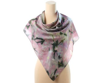 Gakaxy Print Silk Scarf 80s Tie Dye Large Shawl Handpainted Tie Dye Purple Silk Neck Scarf Hand Rolled Edges Christmas Gift Idea Womens Gift