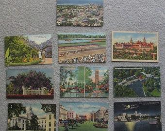 10 Linen Postcards of Florida, Fair to Very Good Condition