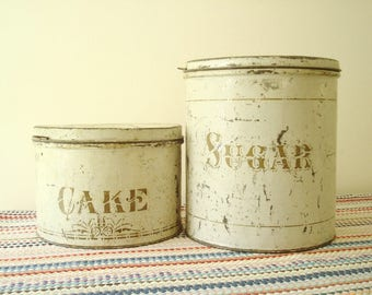Vintage cake tin and sugar canister, cream chippy paint & gold letters, 1930 1940 kitchen accessory, South Haven MI antiques, gift for baker