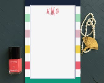 Monogrammed Notepad, Custom Stationery with Initials, Preppy Striped Note pad for her, Personalized Office Supplies, Desk Pad with Monogram