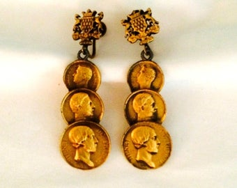 Gold Tone Coin Earrings - Vintage 1960s - Screw Back