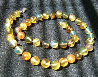 SALE Dominican Blue Amber and Sterling Silver Choker Necklace