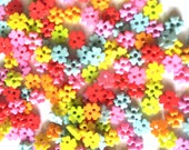 100 pcs Tiny clover flower buttons 6 mm Mix pastel colors