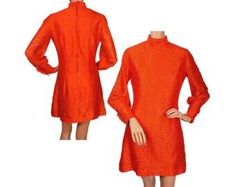 Vintage 1960s Orange Lace Mini Dress - MOD - S / M