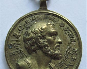 Saints Peter Antique Catholic Religious Medal Holy Stairs Roma Pendant Circa 1700 s   SS373