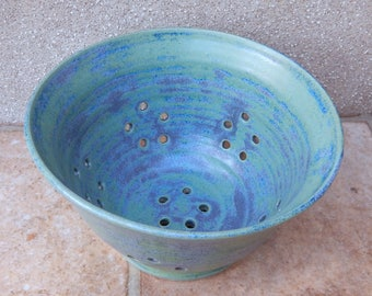 Berry bowl or colander hand thrown pottery ceramic stoneware handmade wheelthrown serving drainer