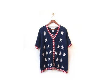30% OFF Vintage 90s Oversized Red White and Blue Knit Short Sleeved Button Up Cardigan Sweater s m l America USA preppy retro grunge