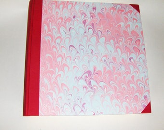 Marbled paper  photo album,  Hand bounded Florentine style -  50 sheets + tissue paper -   cm 35 x cm 35 - 1031