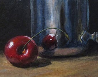 Cherry and Silver - original daily painting by Kellie Marian Hill
