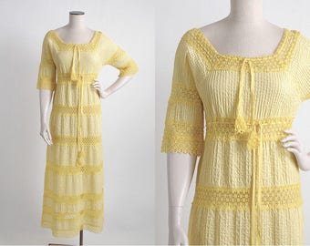 1970s vintage yellow pintucked cotton + crochet peasant dress * 5S955