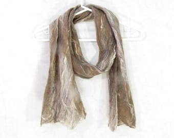 Cobweb Felted Scarf, Handmade Wool Winter Scarf, Beige Brown, Long Womens Mens Unisex Scarf, Winter Fashion Accessory, OOAK, Gift for Her