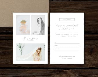 Printable Gift Card Template - Modern Calligraphy Style Designs - Digital Photoshop Templates - Aspen