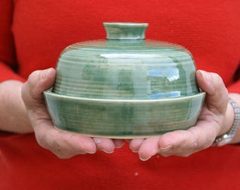 Hand thrown butter dish in forest green - british stoneware pottery