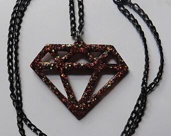 Sparkling multi-colored glitter diamond necklace
