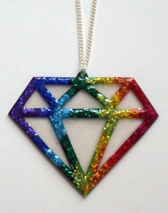 Rainbow glitter large diamond shape necklace
