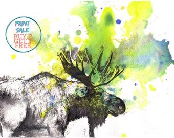 Moose Animal Art Print From Original Watercolor Painting 13x19 in. Great Nursery Children Kids Wall Art Nursery Art Decor and Everyone Else