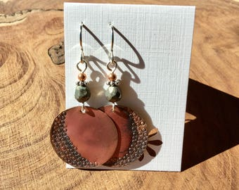Torched, punched with yummy textures copper earrings