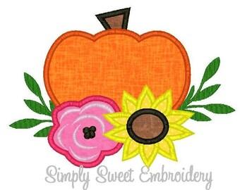 Pumpkin Sunflower Machine Embroidery Applique Design