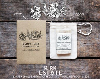75 Seed Packet Wedding Favors, party + shower favors, custom made, organic + heirloom seeds, flower vegetable + herb seeds