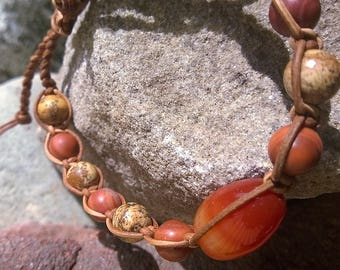 mens bracelet-BOHO MAN 'Mountaineer' Red jasper,Picture Jasper,Red Carnelian,leather cord,shamballa style