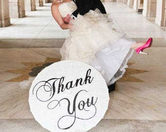 Wedding Thank You Parasol Umbrella Photo Prop Beach Wedding Decor White Ivory Parasol Wedding Ceremony Pictures Sale