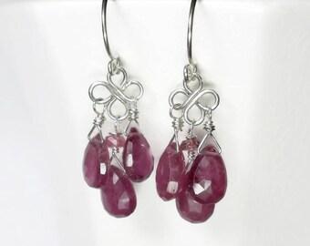 Pink Chandelier Earrings Pink Sapphire Earrings Pink Drop Earrings Sapphire Chandelier Earrings