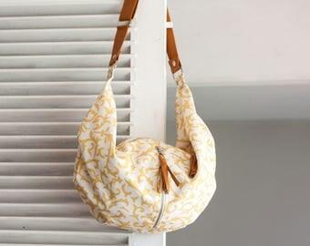 Floral crossbody bag canvas, hobo flower purse crossover bag shoulder slouchy shoulder bag - Crossbody Kallia bag