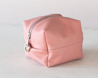 Pale pink accessory bag, makeup bag toiletry storage case vanity storage case cosmetic utility bag zipper pouch - Cube