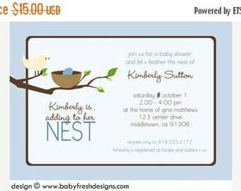 HUGE SALE THRU 8/28 Nesting Baby Shower Invitation - Bird Nest Baby Boy Shower Invite - Baby Bird Shower Invitation - Adding to the Nest Bab