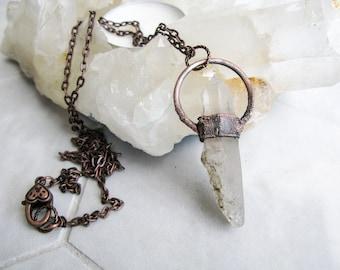 Electroformed Copper Necklace Brazilian Quartz Pendant Boho necklace Modern Jewelry Large Quartz Pendant Statement necklace OOAK