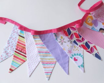 Bunting banner, garland, banner flags, nursery decor, pink bunting banner, pennants, triangle garland, party bunting