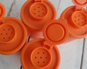 Vintage Tupperware Shakers Orange Set of 4