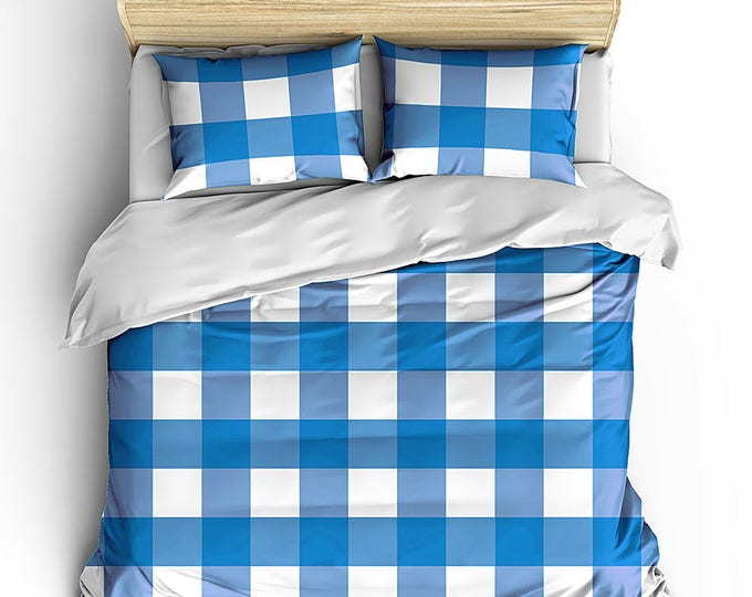 Men's Bedding Set, Masculine Bed Cover, Plaid Duvet, Grad Gift, Teen Room Decor, Boy bedroom decor, Gingham Check Duvet, Masculine Bed set