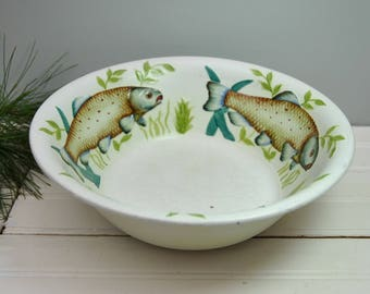 Antique 1920s English bowl with fish, Radford Pottery, hand painted trout design, great cabin style