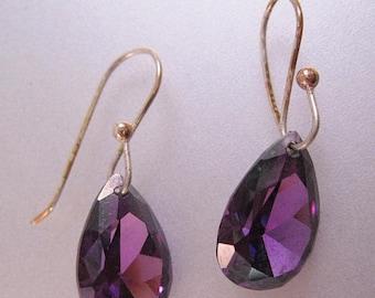 XMAS in JULY SALE Amethyst Pear Shaped Drop Dangle Sterling Silver Vermeil Earrings Vintage Jewelry Jewellery