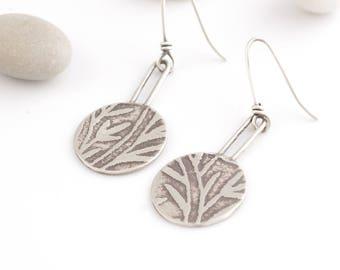 Embossed Bamboo Patterned Silver Earrings