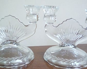 Depression Glass Double Candlesticks Pair