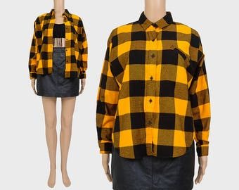Vintage 80s Buffalo Plaid Shirt | Yellow and Black Flannel Shirt | Lumberjack Grunge Boyfriend Shirt | Long Sleeve Checkered Top | size XS S