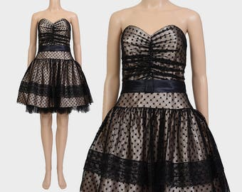 Vintage 90s Gunne Sax Party Dress | Sweetheart Strapless Dress | Sheer Black Mesh Lace Dress | Tulle Full Prom Mini Dress | Medium M