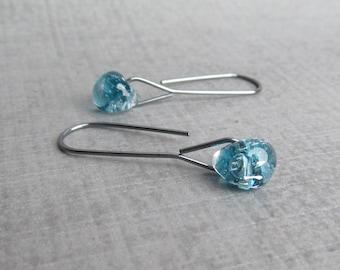Aquamarine Blue Minimalist Dangle Earrings, Blue Earrings, Oxidized Sterling Silver Wire Earrings, Blue Dangles, Lampwork Earrings Blue