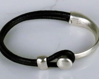 Round Leather Cord Silver Plated Knob Bracelet Gift - Custom Sized Man or Woman Silver Bracelet Leather Cord / Sterling Silver Clasp